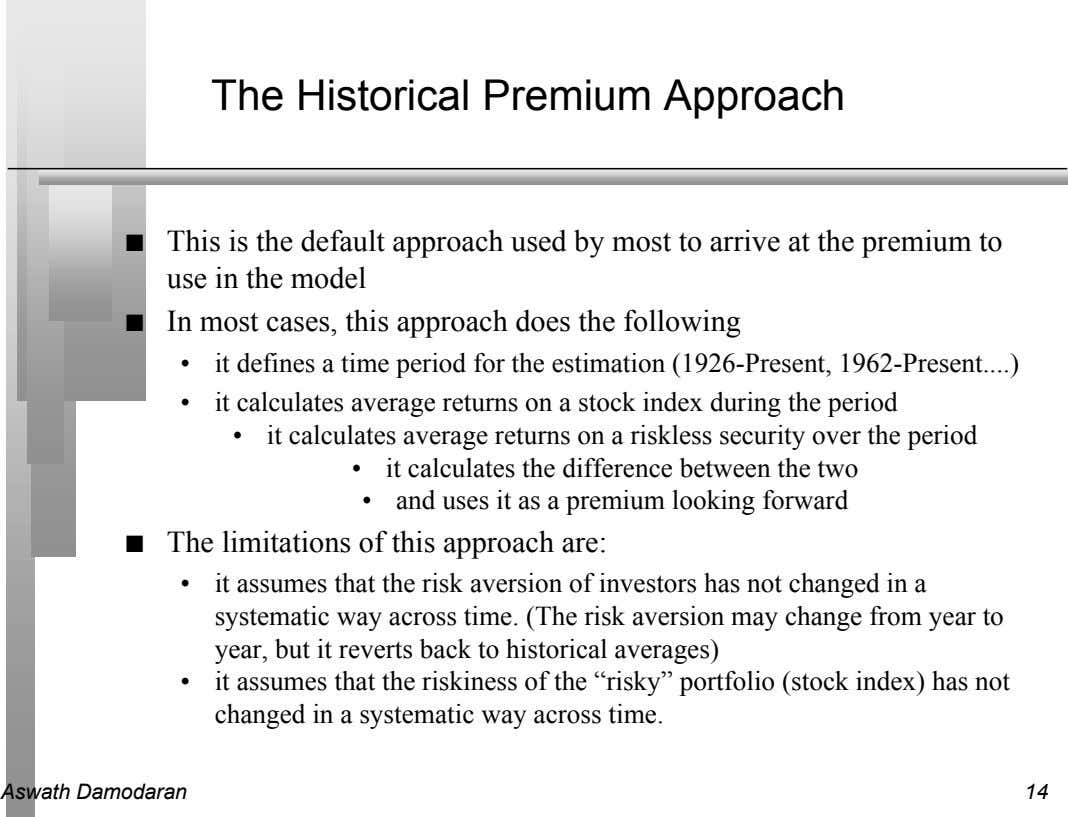 The Historical Premium Approach n This is the default approach used by most to arrive