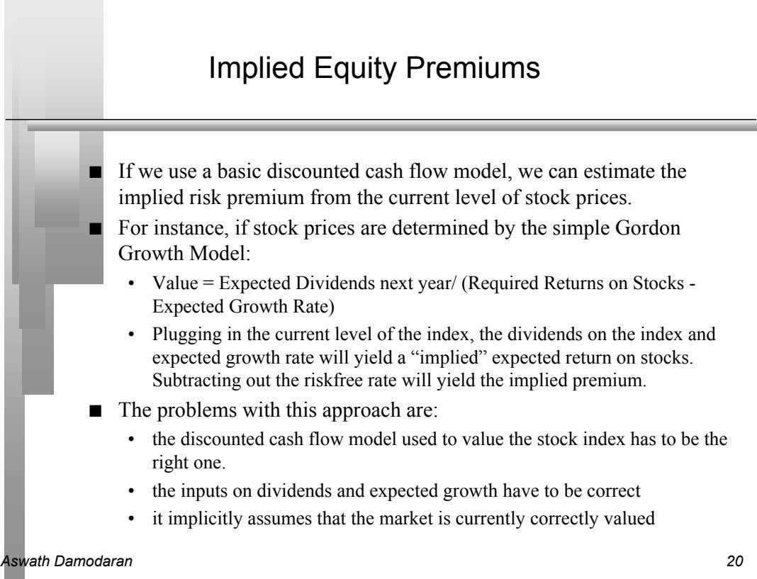 Implied Equity Premiums n If we use a basic discounted cash flow model, we can