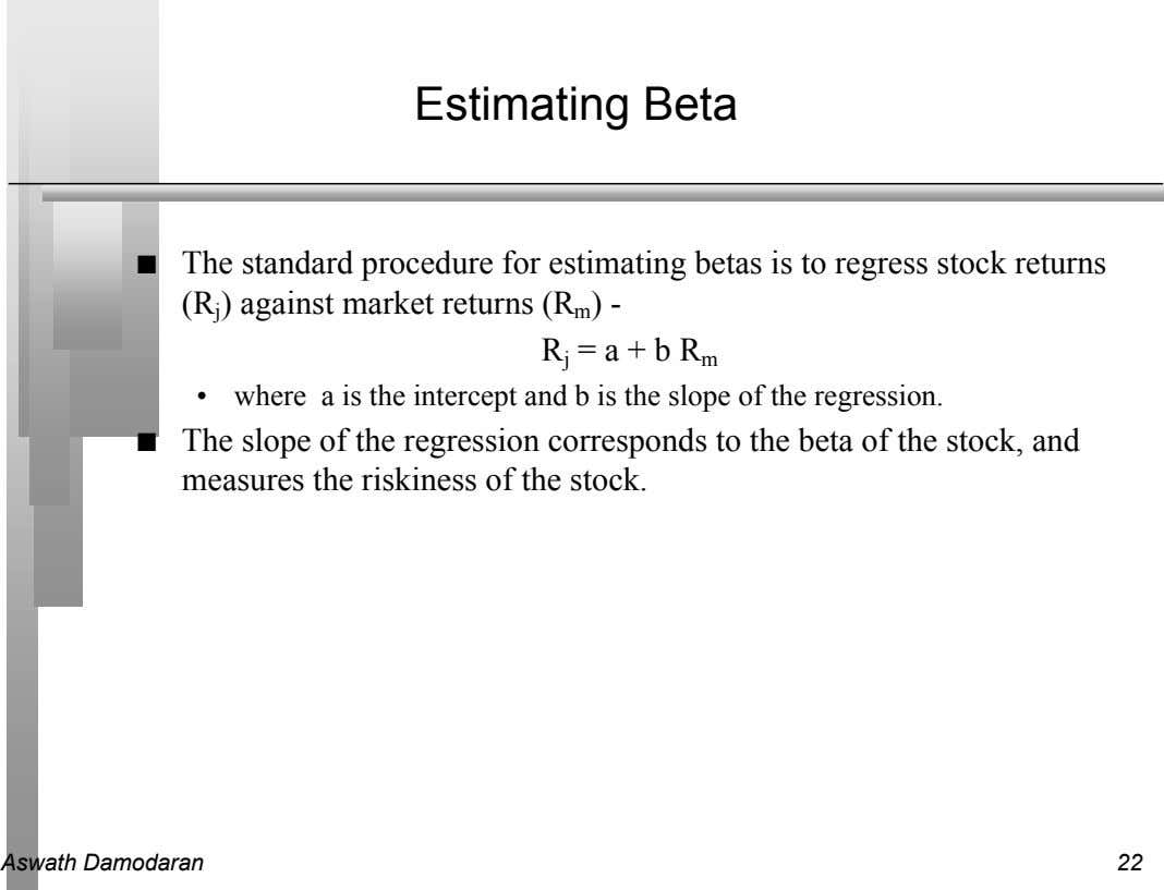 Estimating Beta n The standard procedure for estimating betas is to regress stock returns (R