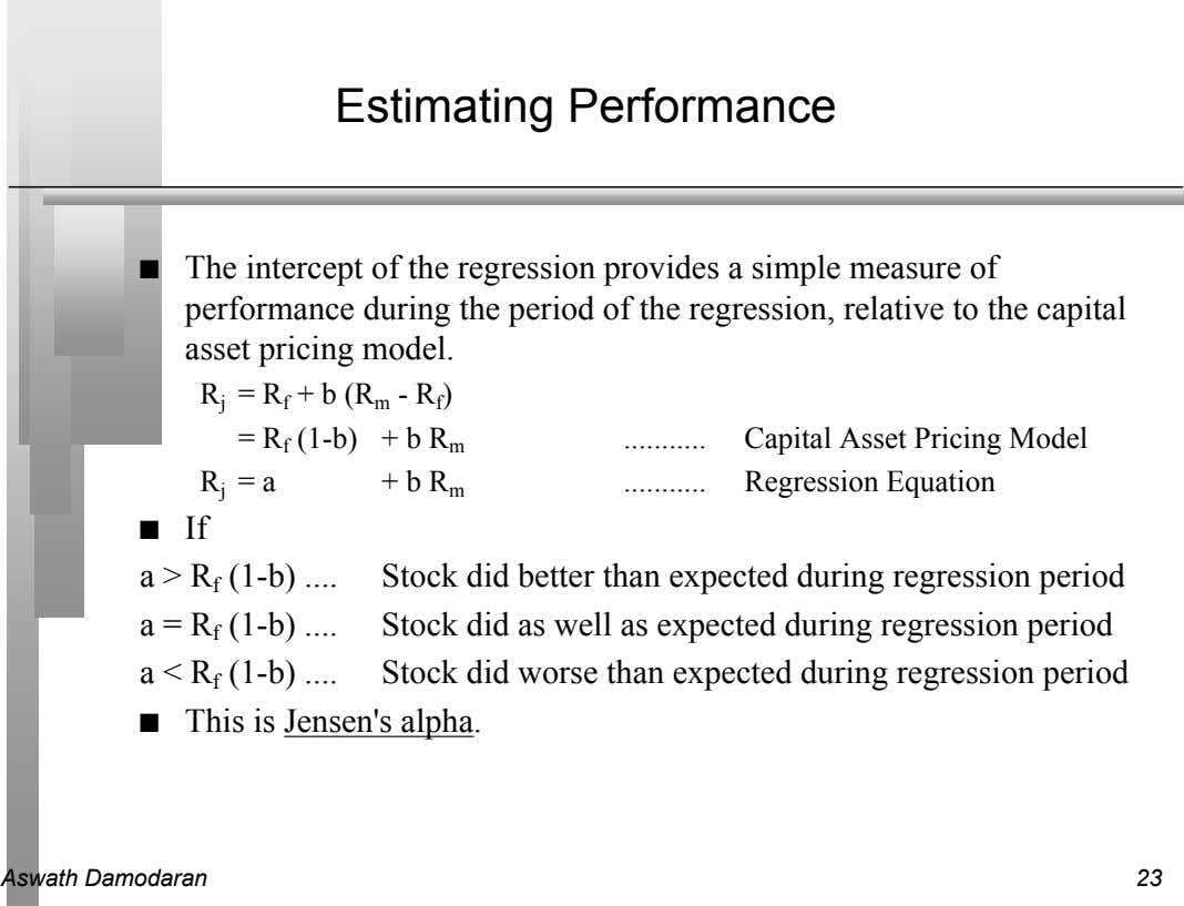 Estimating Performance n The intercept of the regression provides a simple measure of performance during