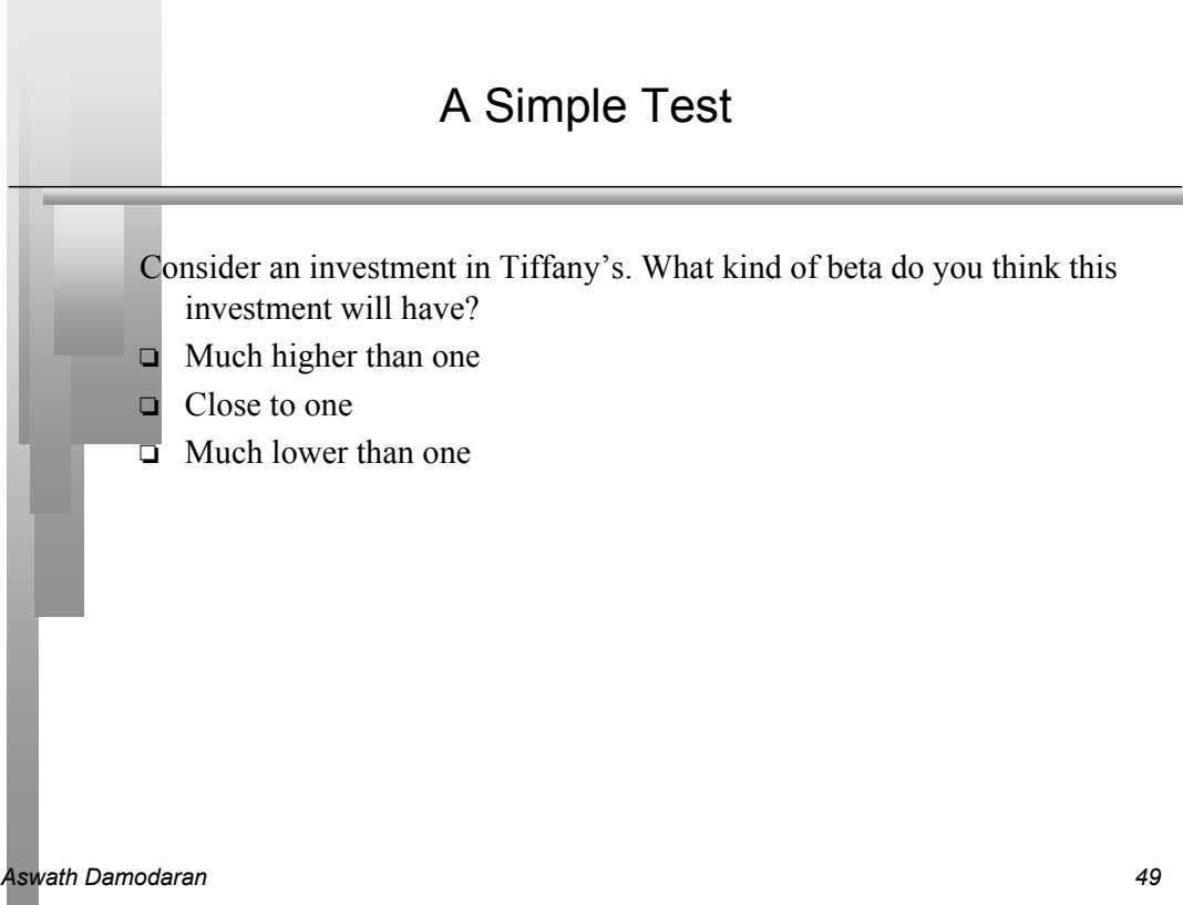 A Simple Test Consider an investment in Tiffany's. What kind of beta do you think