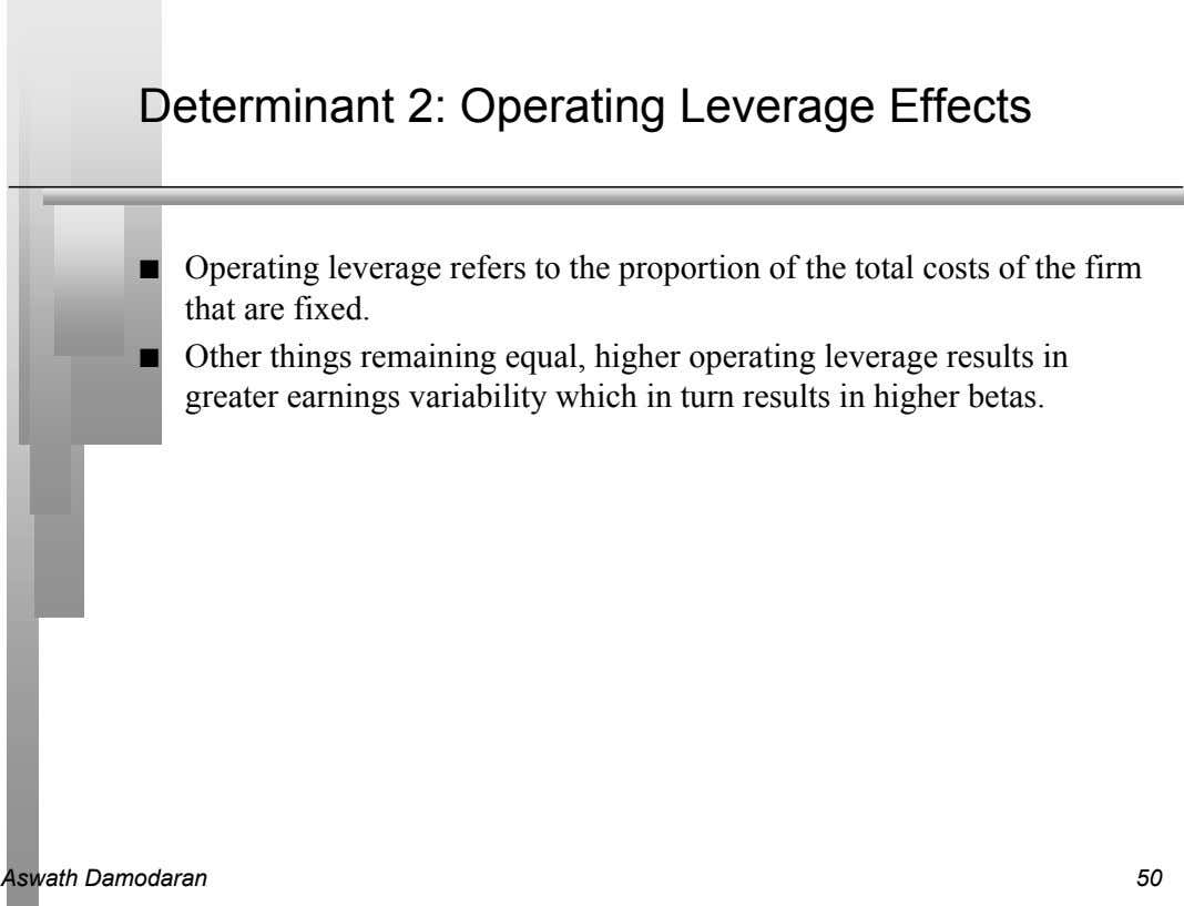 Determinant 2: Operating Leverage Effects n Operating leverage refers to the proportion of the total