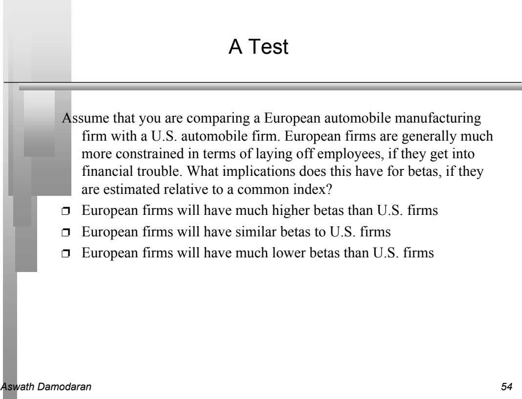 A Test Assume that you are comparing a European automobile manufacturing firm with a U.S.