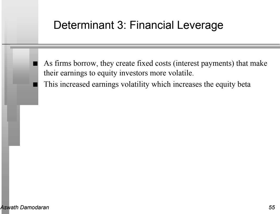 Determinant 3: Financial Leverage n As firms borrow, they create fixed costs (interest payments) that