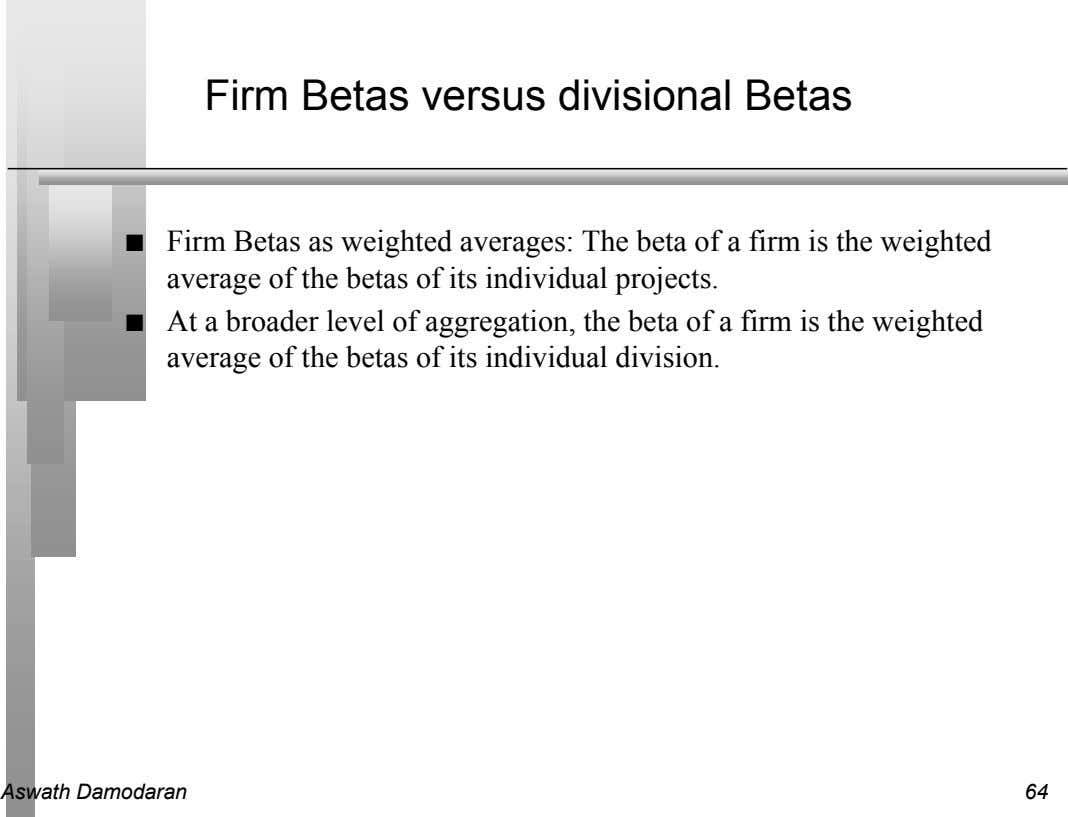 Firm Betas versus divisional Betas n Firm Betas as weighted averages: The beta of a