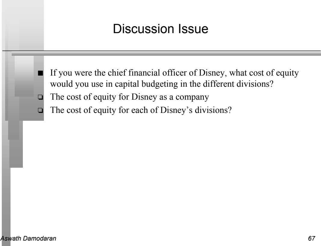 Discussion Issue n If you were the chief financial officer of Disney, what cost of