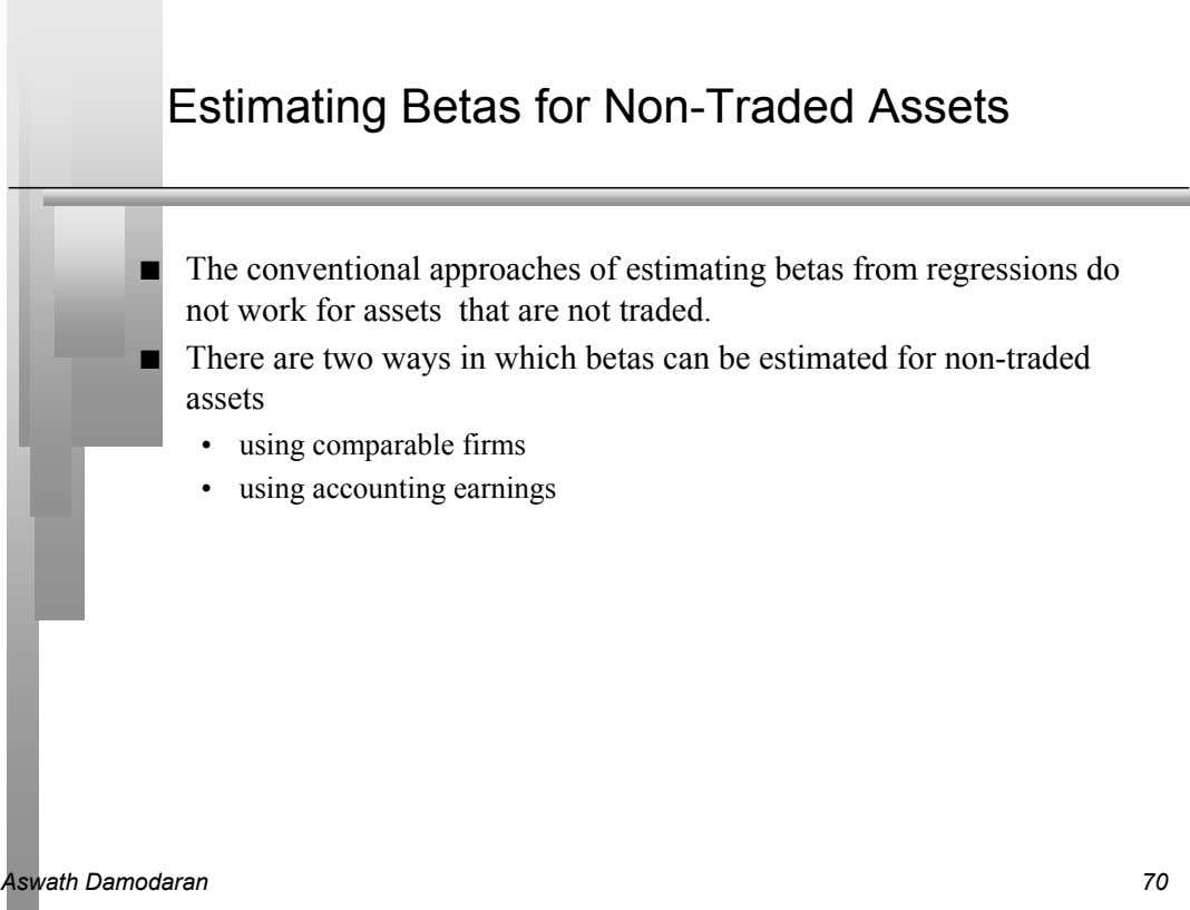 Estimating Betas for Non-Traded Assets n The conventional approaches of estimating betas from regressions do
