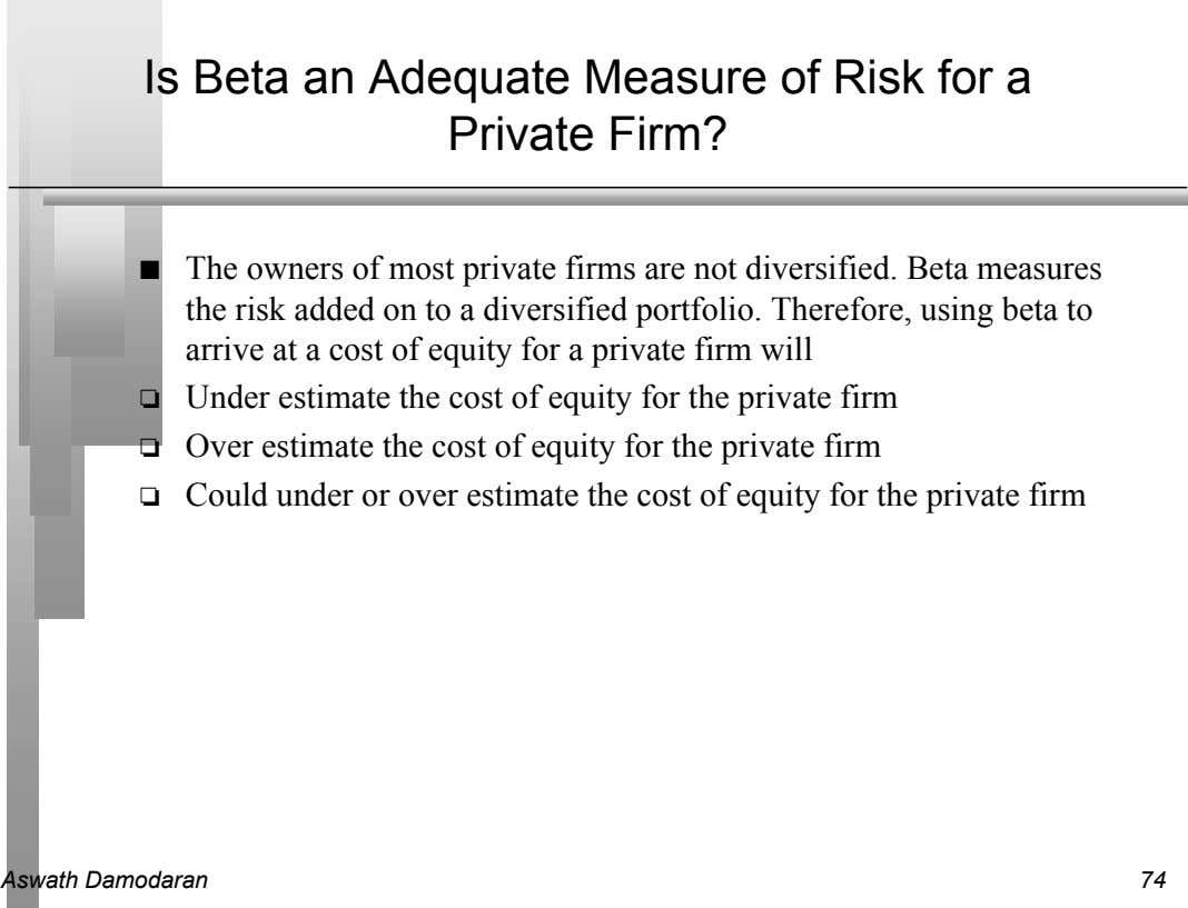 Is Beta an Adequate Measure of Risk for a Private Firm? n The owners of