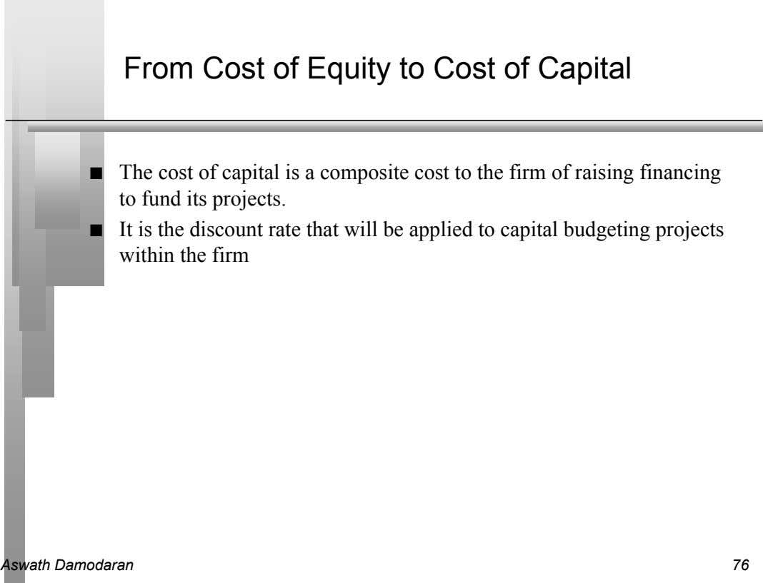 From Cost of Equity to Cost of Capital n The cost of capital is a