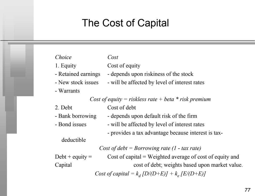 The Cost of Capital Choice Cost 1. Equity Cost of equity - Retained earnings -