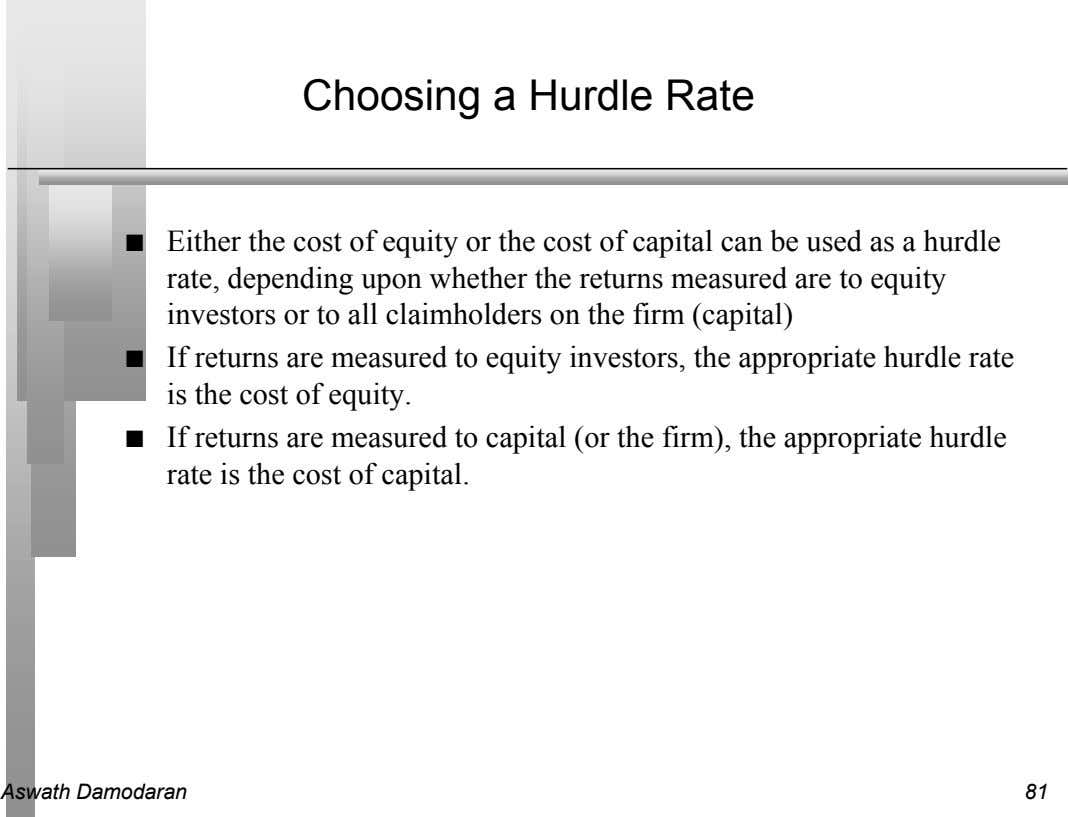 Choosing a Hurdle Rate n Either the cost of equity or the cost of capital