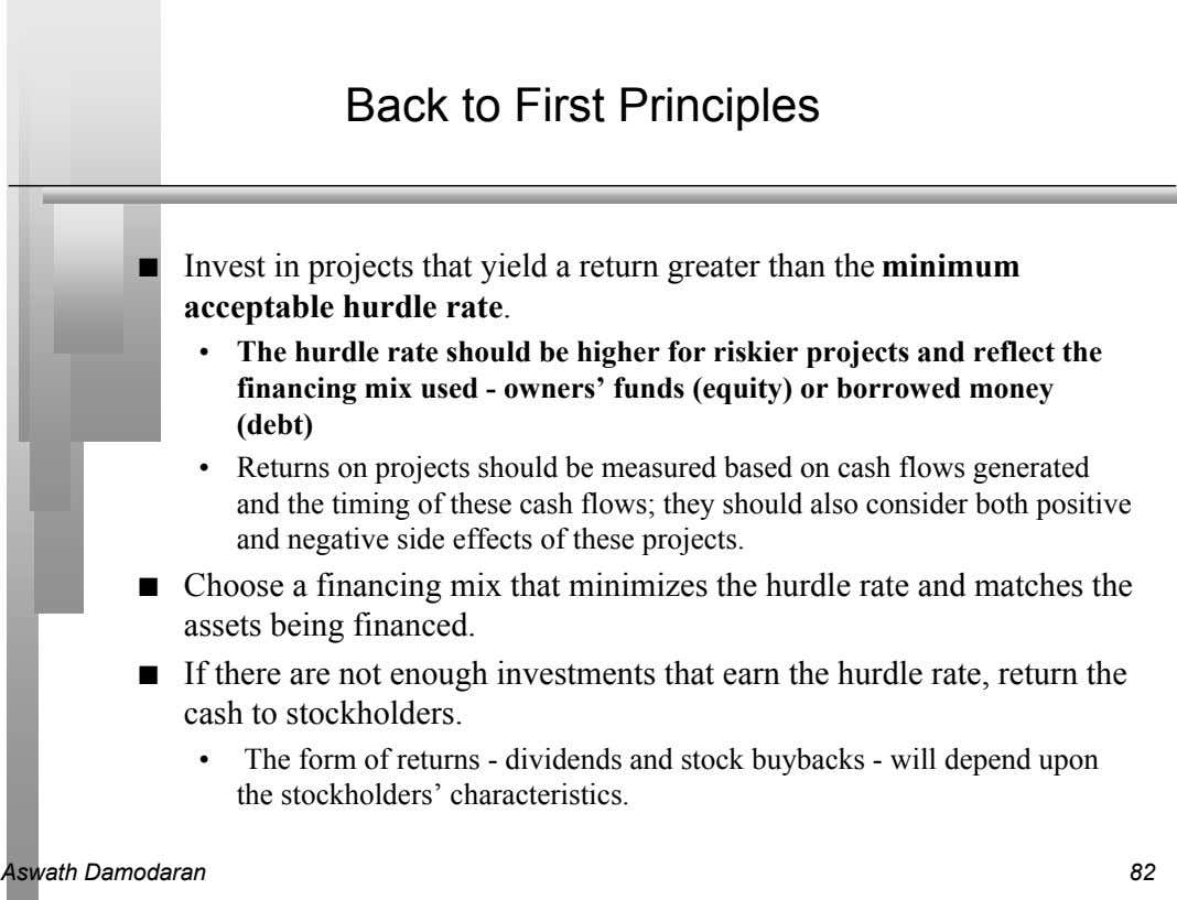 Back to First Principles n Invest in projects that yield a return greater than the