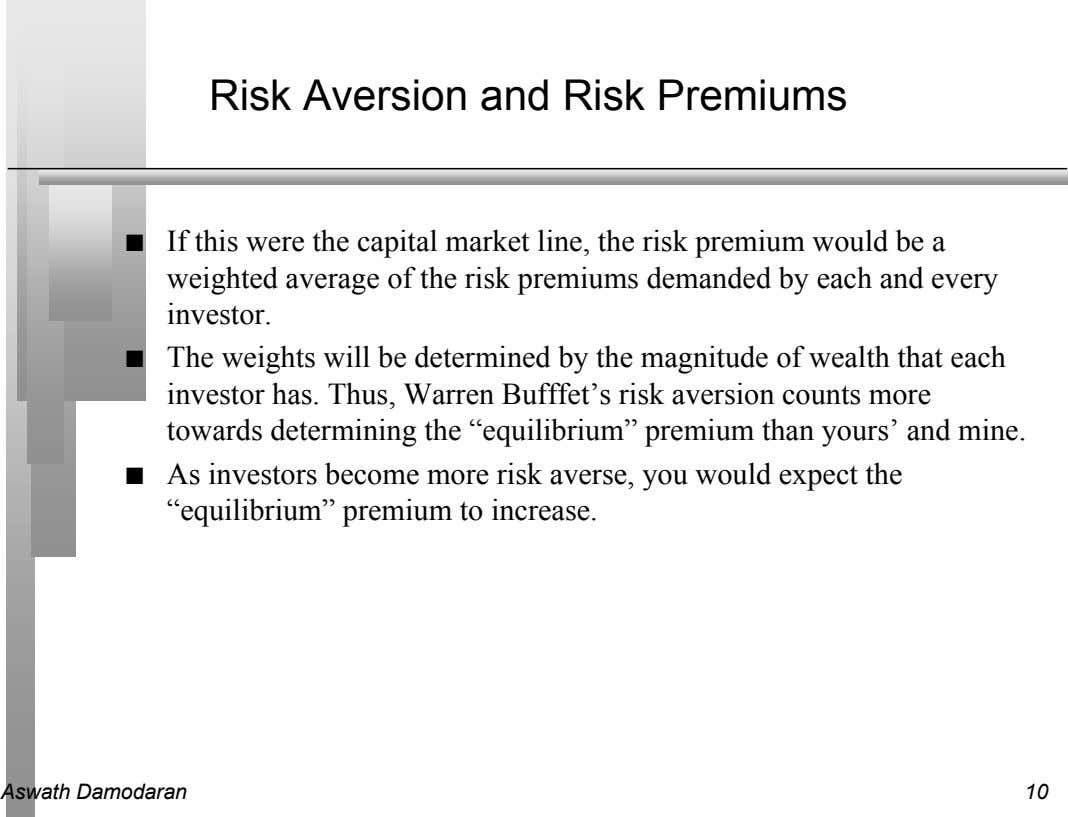 Risk Aversion and Risk Premiums n If this were the capital market line, the risk