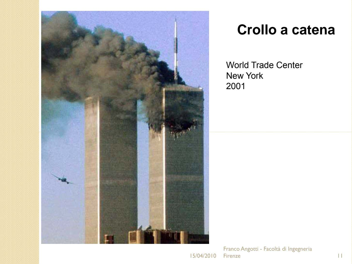 Crollo a catena World Trade Center New York 2001 15/04/2010 Franco Angotti - Facoltà di