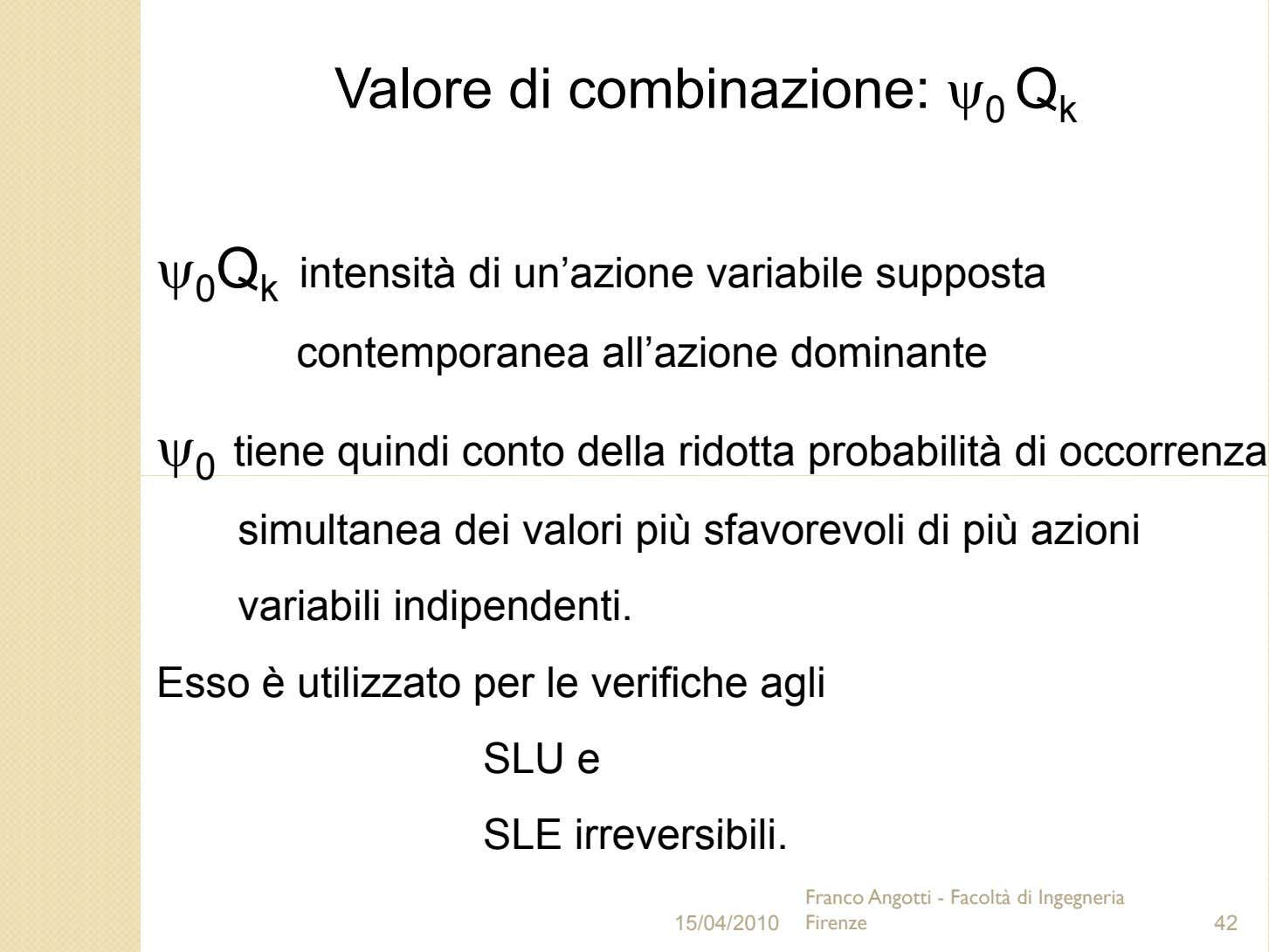Valore di combinazione: ψ 0 Q k ψ 0 Q k intensità di un'azione variabile