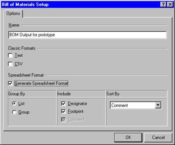 dialog for information on a specific feature in the dialog. Set up the Bill of Materials
