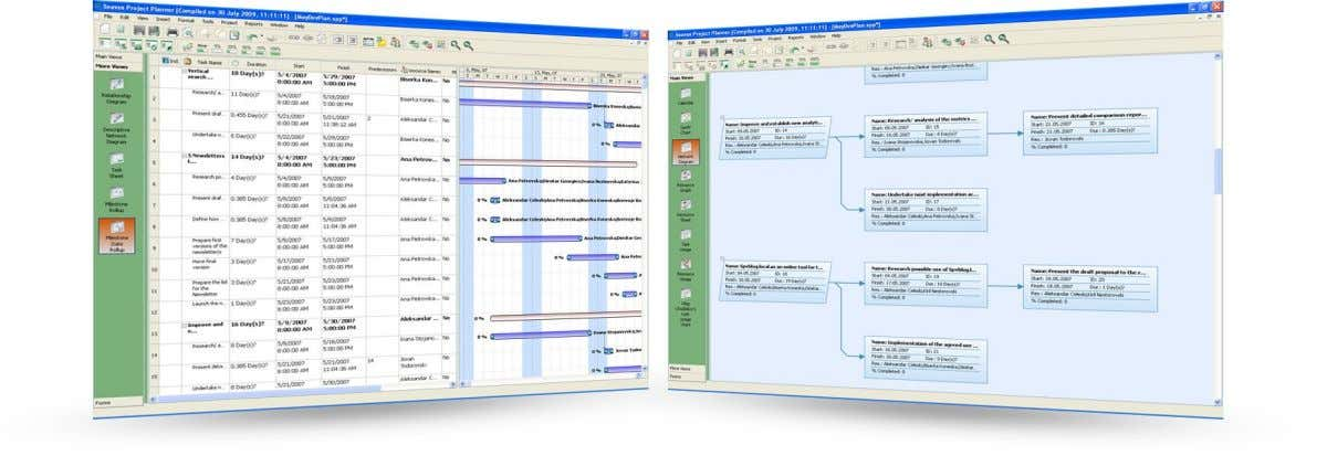 as well as to manage resource schedules and scope changes. Project scheduling Seavus Project Planner will