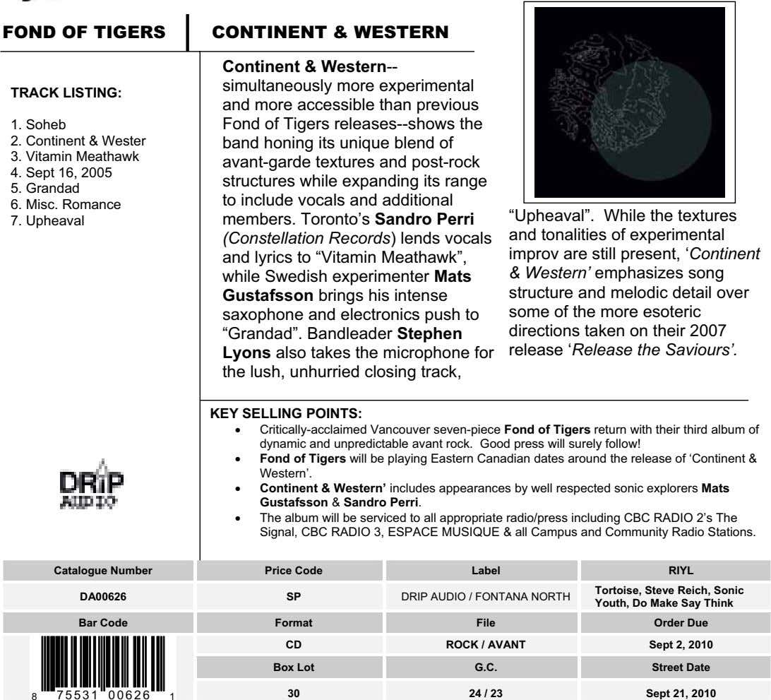 FOND OF TIGERS CONTINENT & WESTERN TRACK LISTING: Continent & Western-- simultaneously more experimental and