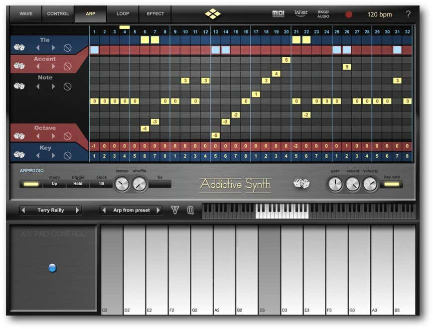Arpeggio Page O VERVIEW Addictive Synth features an arpeggiator with a very flexible step matrix editor