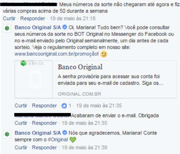 Resposta do Banco Original no Post Captação de Atenção Fonte: Página oficial do Banco Original no