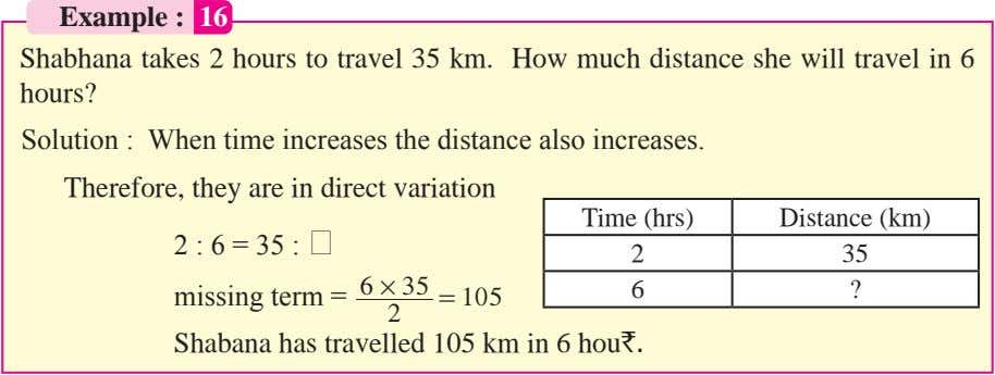Example : 16 Shabhana takes 2 hours to travel 35 km. How much distance she