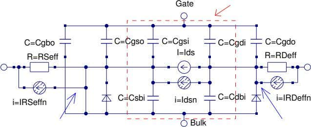 Source Intrinsic model Source-int Drain-int Figure 1: Equivalent circuit for the Qucs EKV v2.6 long channel