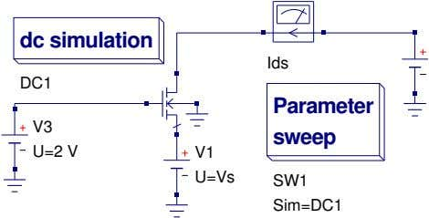 dc simulation Ids DC1 Parameter V3 sweep U=2 V V1 U=Vs SW1 Sim=DC1