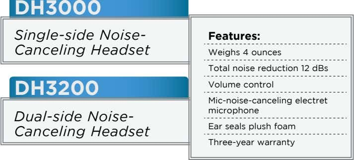DH3000 Single-side Noise- Canceling Headset Features: Weighs 4 ounces Total noise reduction 12 dBs DH3200