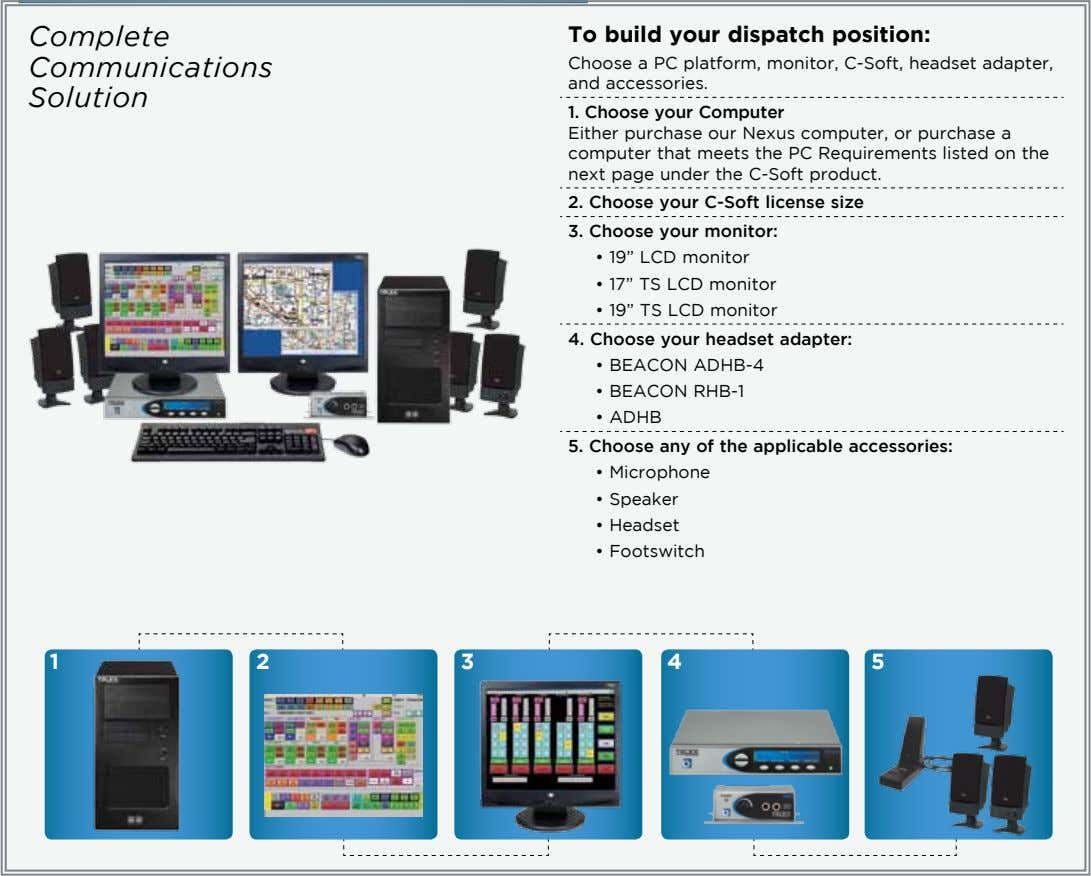 Complete To build your dispatch position: Communications Choose a PC platform, monitor, C-Soft, headset adapter,