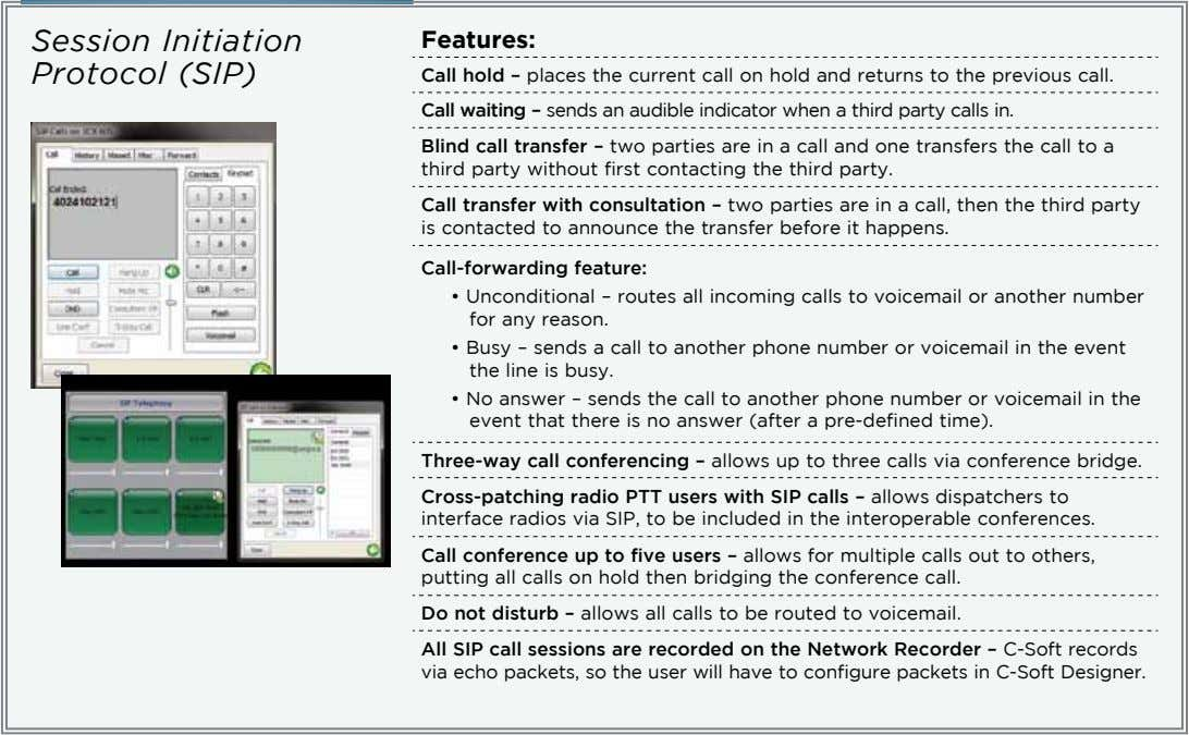 Session Initiation Protocol (SIP) Features: Call hold – places the current call on hold and