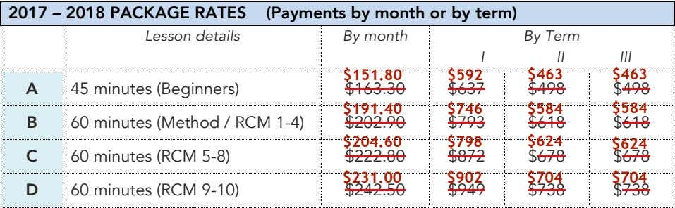 2017 – 2018 PACKAGE RATES (Payments by month or by term) Lesson details By month