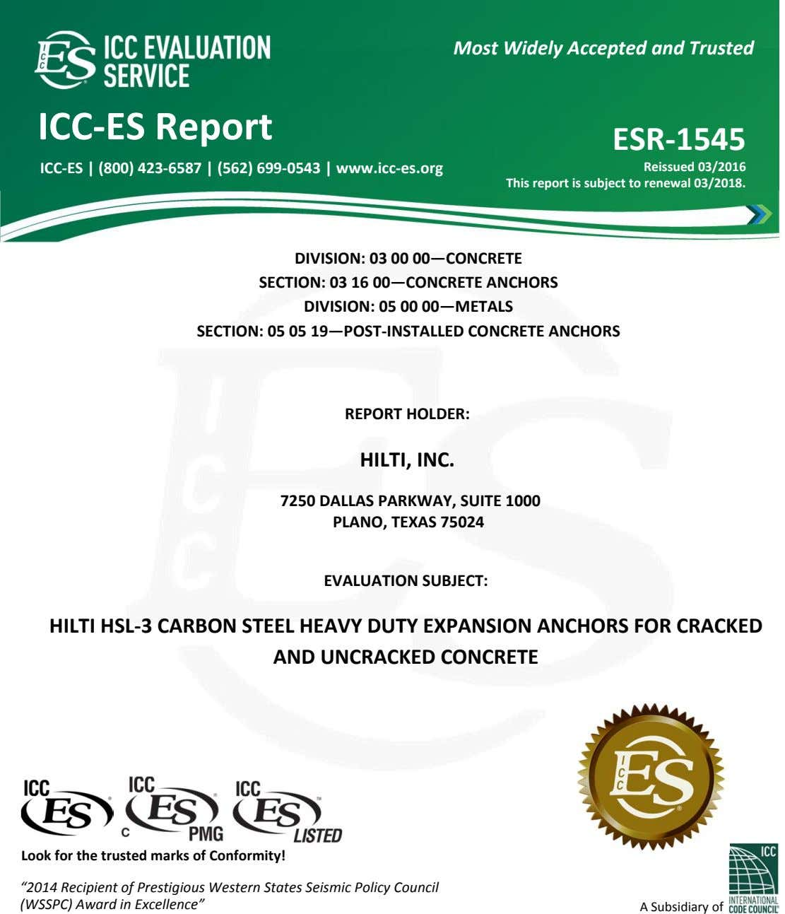 Most Widely Accepted and Trusted 0 ICC ‐ ES Report ESR ‐ 1545 ICC ‐ES
