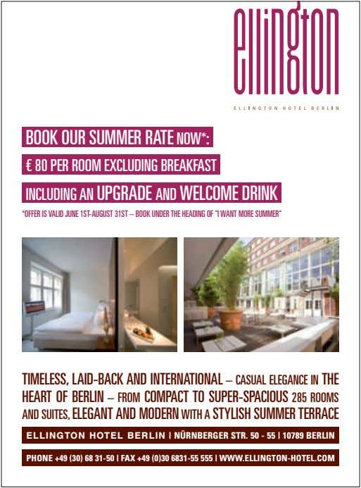 BOOK OUR SUMMER RATE NOW*: € 80 PER ROOM EXCLUDING BREAKFAST INCLUDING AN UPGRADE AND
