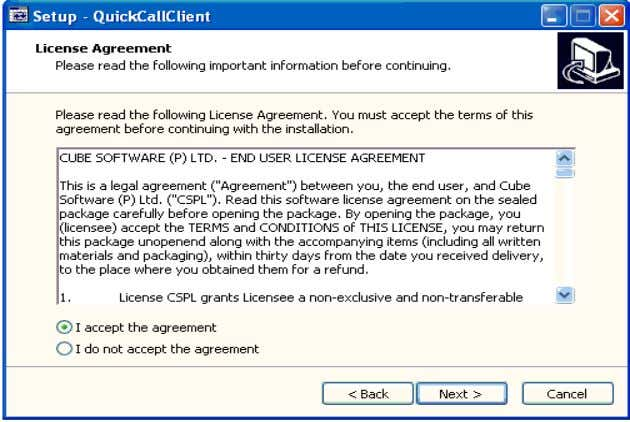 "accept the agreement"" as shown in the snap and Next would immediately get enabled. Click on"