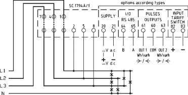 passanti Standard version: voltage taken from passed cables C15WTL100 - C15QTL100 - C15UPL100 Esecuzione a richiesta: