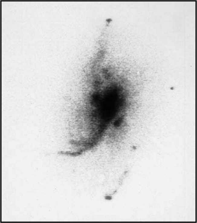 Intrinsic Redshifts 13 Fig. 1-3. NGC4258 photographed in the light of hydrogen alpha emission showing excited