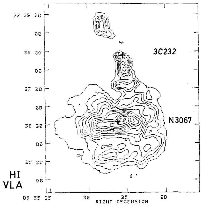 Intrinsic Redshifts 31 Fig. 1-17. Radio map of neutral hydrogen in NGC3067 showing filament leading from