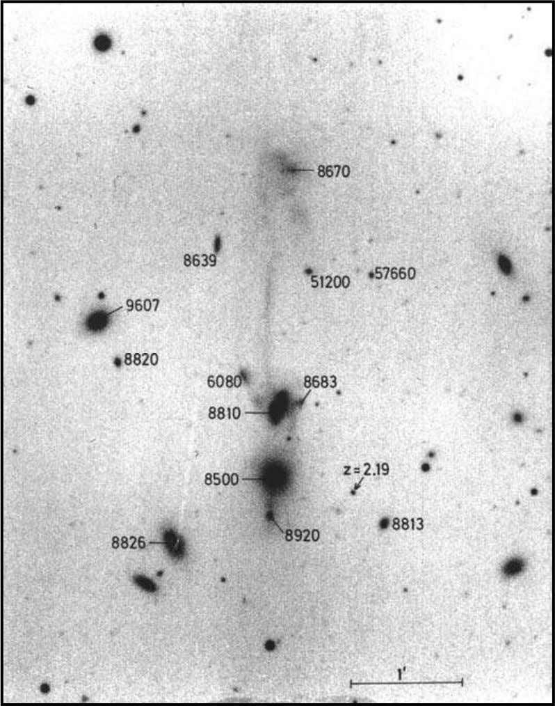 z = 2.19 discovered by Alan Stockton are indicated. ejection, this was also being presented as