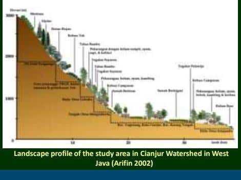 Landscape profile of the study area in Cianjur Watershed in West Java (Arifin 2002)