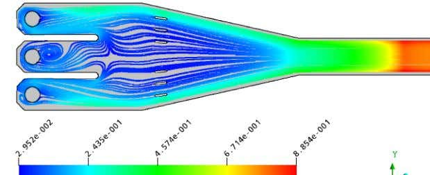 vertical longitudinal planes in Final Model At free surface Figure 5. At 0.4m from channel bottom