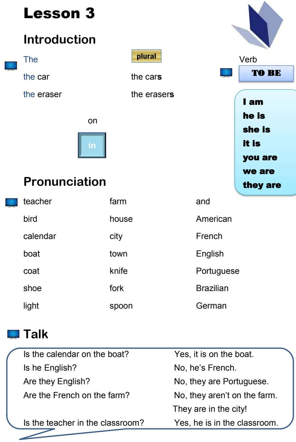 Lesson 3 Introduction plural The Verb the car the cars TO TO BE BE the