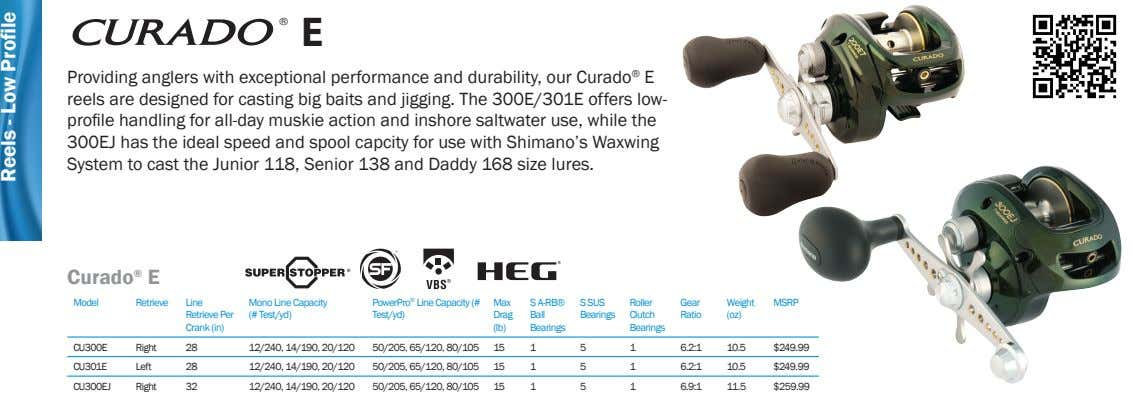 ® E Providing anglers with exceptional performance and durability, our Curado ® E reels are