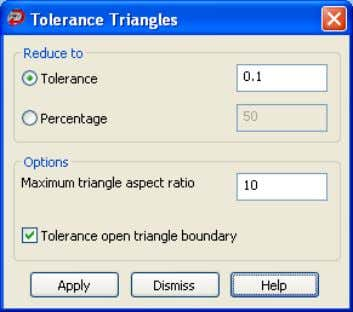 3. Click to display the Tolerance Triangles dialog box. 4. Select one of the following to