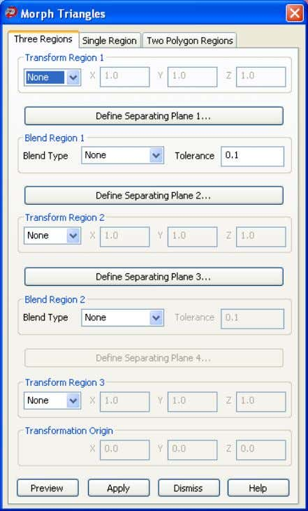 4. Select the Three Regions tab. 5. Use the Define Separation Plane 1 and Define Separation