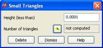 Small Triangles dialog box to display the Small Triangles 2. Use Height (less than) to specify