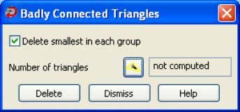 button to display the Badly Connected Triangles dialog box. Badly connected triangles indicate areas where the