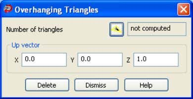Triangles to display the Overhanging Triangles dialog box. Overhanging triangles are those that point downwards