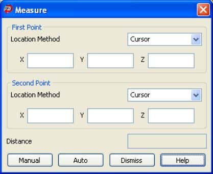 1. Click to display the Measure dialog box. 2. Select a method for picking the points