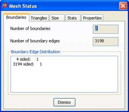 ount. If the mesh is closed, this information is displayed. Mesh Status - Triangles Select the
