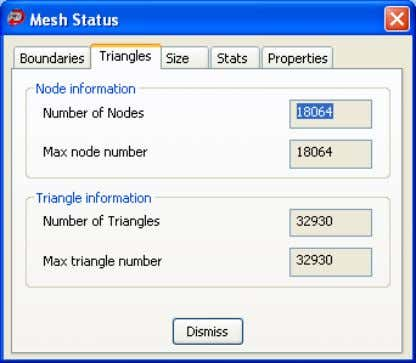 information about the triangles in the selected mesh. The following Node information is displayed: Number of